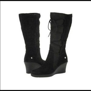 Ugg Black Elsley Tall Lace Up Wedge Boot